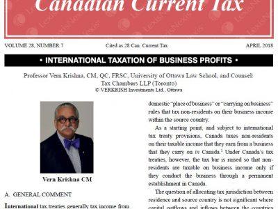 International Taxation of Business Profits