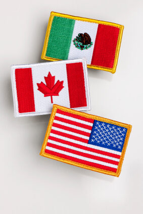 North America Free Trade Agreement countries flag patch on white background.
